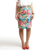 Rok Span Pencil Midi Skirt Motif Tropical Floral