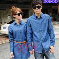 Baju Couple Kemeja dan Dress Denim