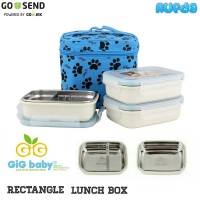GiG Baby Rectangle (Biru) Lunch Box, Kotak Makan Stainless Tahan Panas