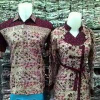 Baju Batik Couple Sarimbit Pasangan Batik Solo Kemeja Lengan Pendek