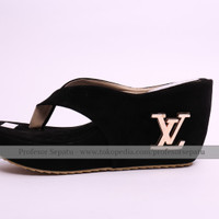 EXCLUSIVE Wedges LV Hitam