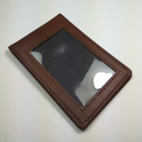 ID card holder kulit asli warna coklat model selip saku magnet