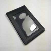ID card holder kulit asli warna hitam model selip saku magnet