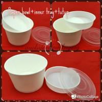 Paper bowl/mangkuk kertas 650ml+inner tray+ttp (25pcs)