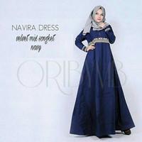 d.r Dress Murah / Dress Muslim / Maxi Dress / Navira Dress Navy