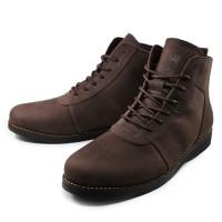 Sepatu Pria SAUQI Brodo Boots Brown Kulit Pull Up Casual Kerja Kantor - 39