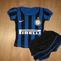 Setelan Baby Dress Rok Baju Bola Bayi Anak Cewek Inter Milan Home 15/1