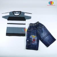 Setelan Salur Jeans uk 5-6th / Kaos Anak Cowok Celana Jeans Pendek