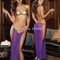 Sexy Costumes Dancer Ungu Emas - SLC - 103
