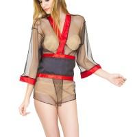 L-877 Sexy Black Transparent Kimono Lingerie Lace Murah
