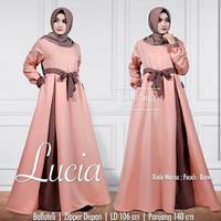j.s Dress Murah / Dress Muslim / Maxi Dress / Lucia Dress Peach