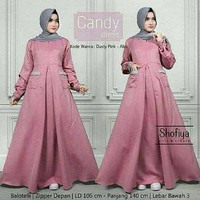 j.s Dress Murah / Dress Muslim / Maxi Dress / Candy Dress Pinkj