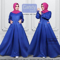 j.s Dress Murah / Dress Muslim / Maxi Dress / Candy Dress Blue