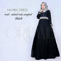 j.s Dress Murah / Dress Muslim / Maxi Dress / Navira Dress Black