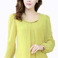 Blouse Korea Lengan Panjang Putih/Kuning