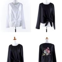 Black,White Flower Texture (S,M,L) Blouse - 41790