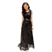 233 - Gaun Pesta Lace Sleeveless Long Dress Korea + Ikat Pinggang