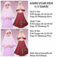 Gamis Syari Kids/baju anak perempuan/kembaran kaka adik/usia 6-9 tahun
