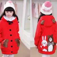 Jaket Hoodie Funny Rabbit & Bear Kid Red Baju Anak Perempuan Lucu