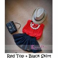 red black skirt / baju setelan rok anak korea pink