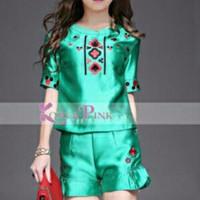 Baju Anak Branded Import Fashion Kids Girls Korea Pink Green Sateen Pr