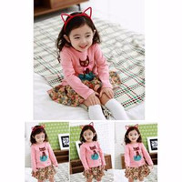 Setelan Anak Perempuan Girl Set Korea Impor Shirt Ribbon Cat Skirt Te