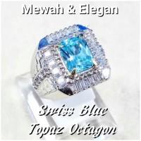 CINCIN BATU PERMATA BLUE TOPAZ SWISS CUTTING OCTAGON SUPER MEWAH