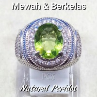 CINCIN BATU AKIK PERMATA NATURAL GREEN PERIDOT CUTING LUSTER MANTAP