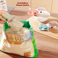 Sendok Beras Takar Dengan Jepitan karung tepung model Animal dapur set
