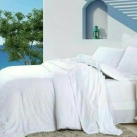 Bedcover+ Sprei putih polos (200x200) full katun hotel premium