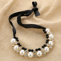 Charmjewelry Kalung Mutiara Statement Choker Necklace Crystal N005