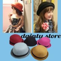 Topi Anak Mangkok Tompi Bowler Fedora Chaplin Hat Polos - Hitam