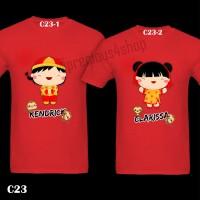 Cute CNY Cartoon Boy & Girl Baju Imlek | C23 | Kaos Couple T-Shirt
