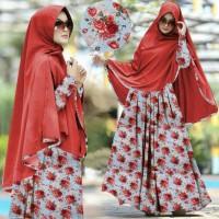 setelan st hijab muslim syari ros red / baju wanita maxi jilbab-HS