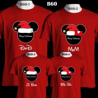 Minnie & Mickey Santa Head Baju Natal | B60 Kaos Couple Family T-Shirt
