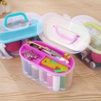 Alat Jahit Set Mini Box Sewing Toolkit Benang Jarum Gunting Lengkap