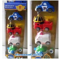 mainan mobil die cast action figure robocar poli set isi 4 pcs import