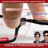 Kacamata Minus + Lensa Photocromic | Frame Vintage Pria | Baca Korea