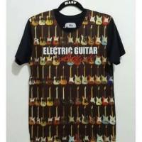 Kaos Oblong Fullprint 3D Electric Guitar