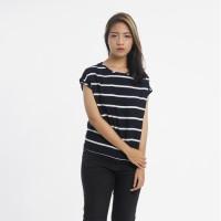 Atasan Baju Wanita Lengan Pendek Motif Garis-Garis Hitam Biru Navy