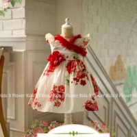 Gaun Anak Katun Import Red Flower Dress Limited