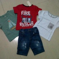 Baju Anak Setelan Jeans Import Fire Rescue 4In1 Set Best Seller