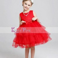 Baju Pesta Anak Gaun Merah Import Red Layered Dress Best Seller