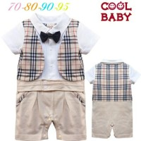 Baju Bayi Anak Tuxedo Formal Brown Vest Romper Distributor