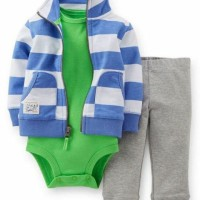 Baju Anak Bayi Jaket Import Green Blue Jacket Set Murah