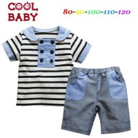 Baju Setelan Anak Casual Import Sailor Striped Set Best Seller