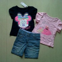Baju Setelan Anak Jeans Import Minnie Princess Set Limited