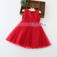 Gaun Pesta Anak Korea Pink Import Red Tutu Dress Limited