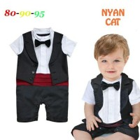 Baju Bayi Cowok Formal Tuxedo Vest Red Waist Romper Best Seller