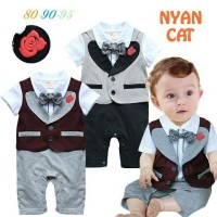 Baju Bayi Anak Tuxedo Formal Rose Vest Romper Best Seller